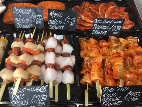 BBQ Kebabs monk scallop salmon