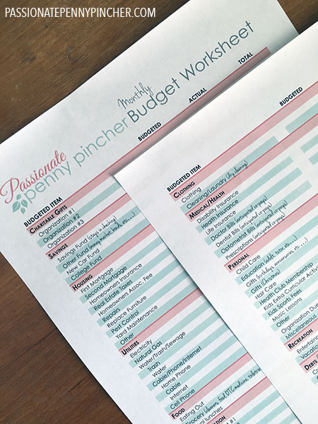 Free Printable Budget Spreadsheet | Passionate Penny Pincher