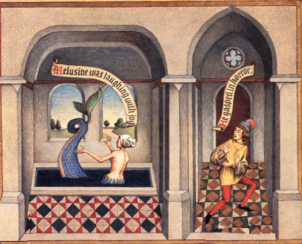 Mélusine surprise par son mari dans son bain.