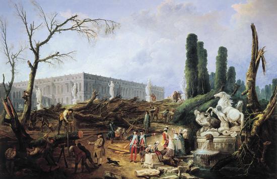 Baumfällarbeiten im Winter 1774/75, Bosquet des Bains d'Apollon (Hubert Robert)