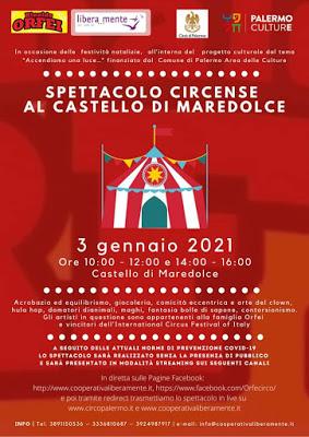 Lo spettacolo del Circo Rinaldo Orfei in diretta streaming dal Castello di Maredolce