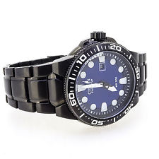 Citizen BN0095-59L Men's Scuba Fin Eco-Drive Blue Dial Black IP Steel Dive Watch 1