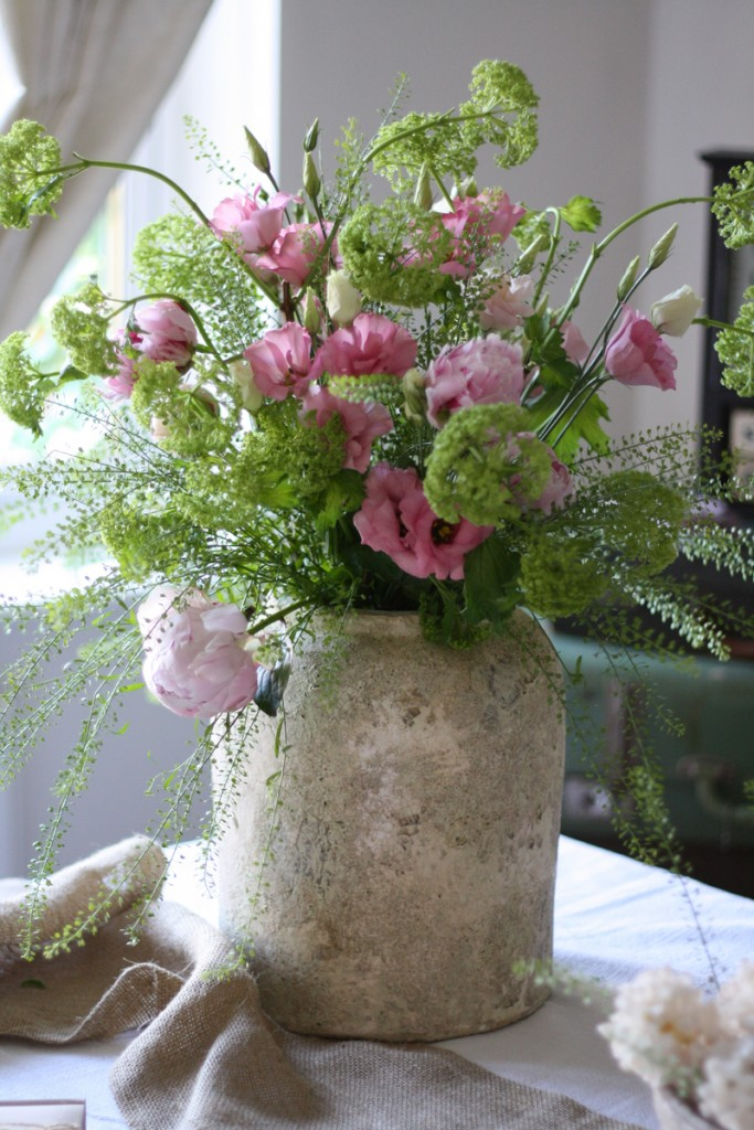 STONE VASE  PINK  GREEN FLOWERS  Passion for Flowers