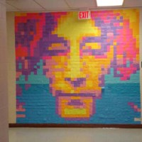 Apex High School sticky note murals