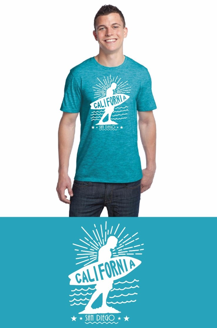 California Surf Aqua Blue T-Shirt Image