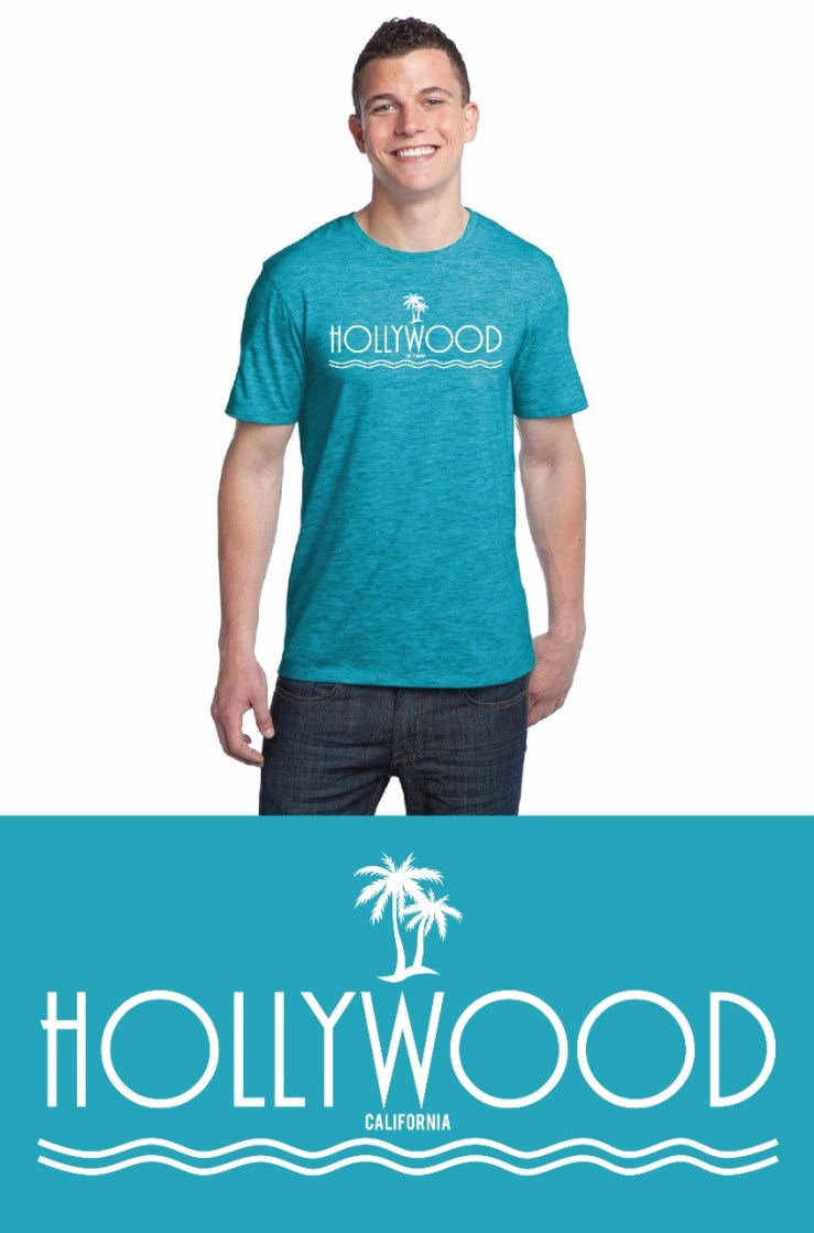 Hollywood Palm Tree Light Blue T-Shirt Image