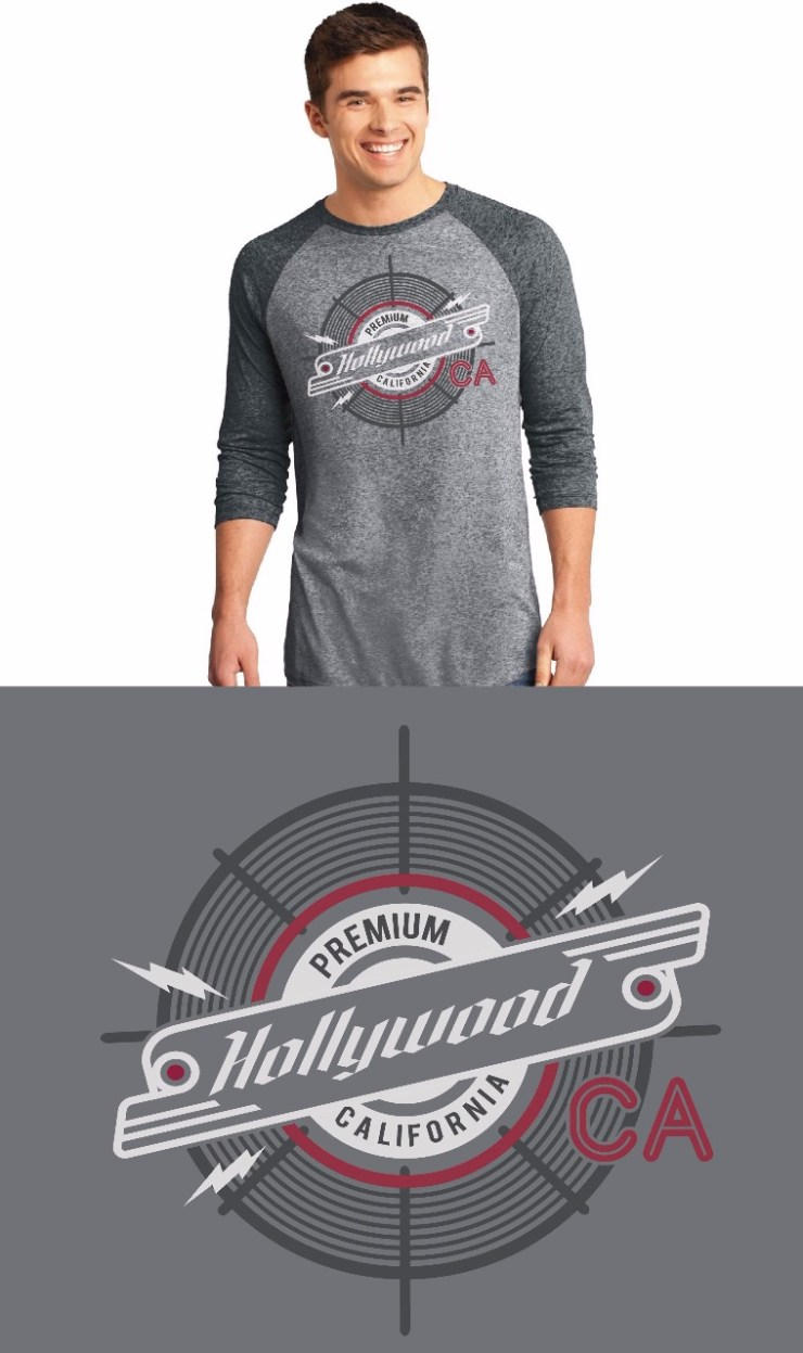 Hollywood Baseball Gray/Black Tee Image