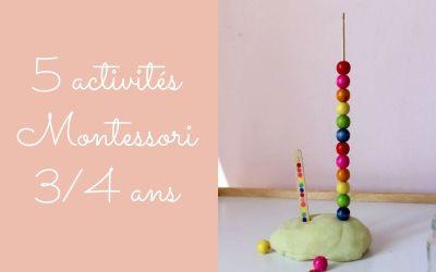 5 activités Montessori pour enfants de 3 / 4 ans