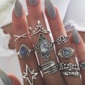 11 Pcs set Retro Crystal Sapphire Finger Ring Set