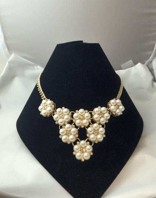 Ella White Pearl Collar Statement Necklace with Earrings