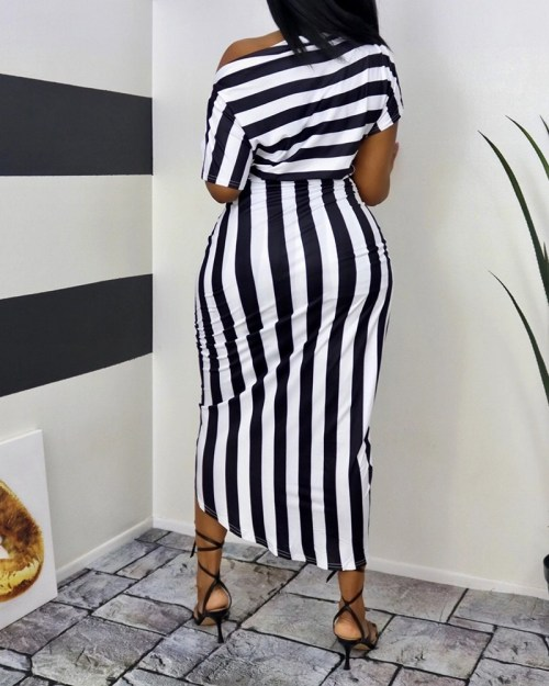 Striped Print One Shoulder Wrap Midi Dress