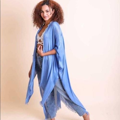 Blue Open Weave Drape Kimono