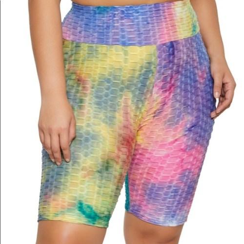 Plus Tie Dye Textured Knit Bermuda Biker Shorts