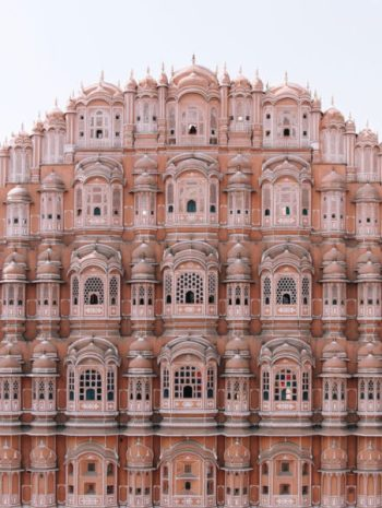 The facade of the Hawa Mahal in India