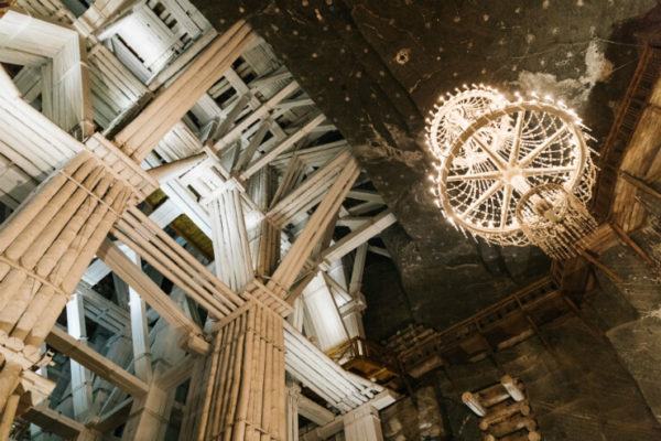 Chandelier inside Krakow's salt mines