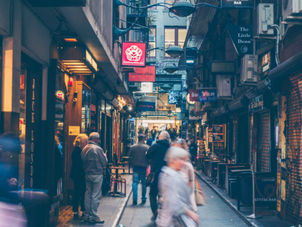 One of Melbournes busy laneway