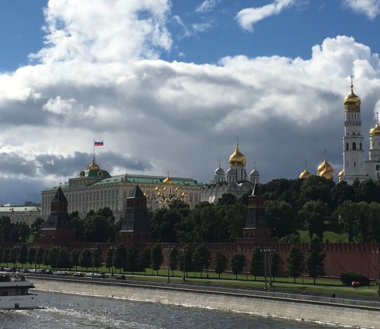 the kremlin over the moscow river