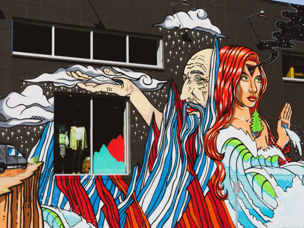 mother earth and father time mural