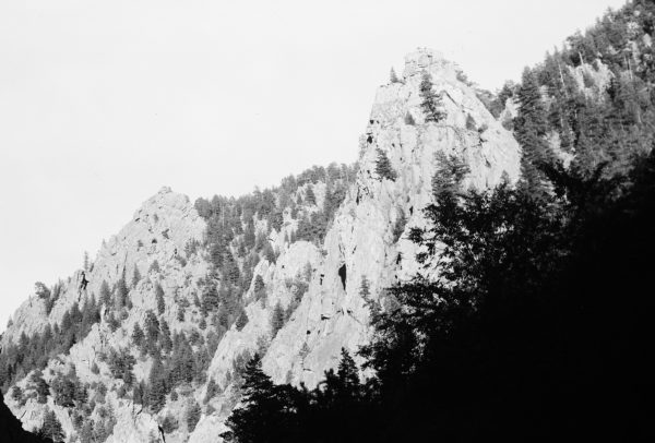 pointed rocks on mountainside