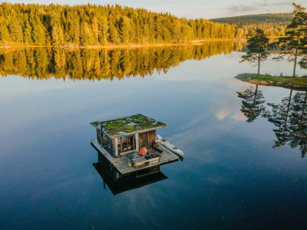 floating cabin aerial view