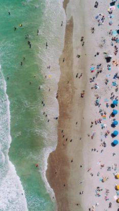 aerial view crowded beach