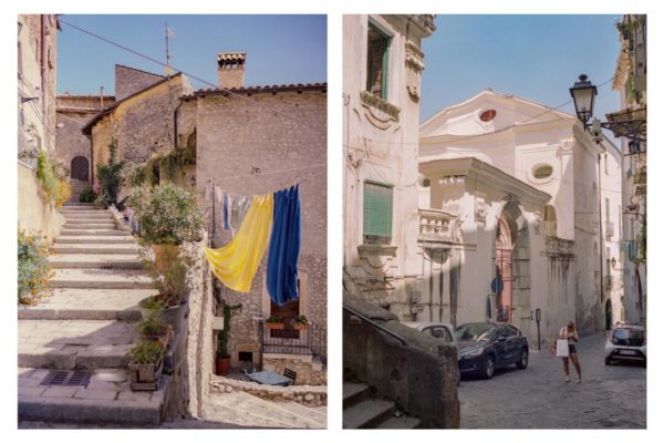 in left photograph laundry hangs on a line in front of stone buildings, in right photograph a person stands in an alleyway