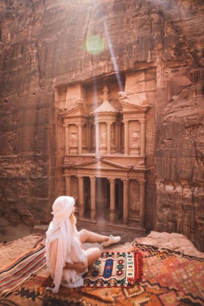 travel nurse relaxing in petra jordan