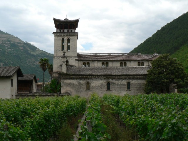 The Catholic church of Cizhong, built in 1911, and its vineyard