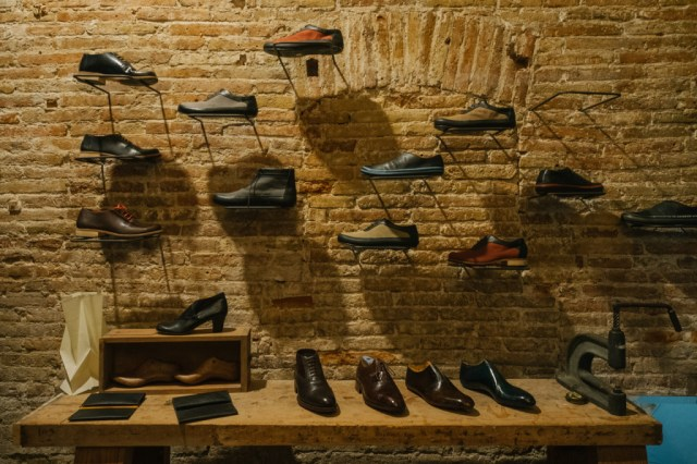 Leather shoes on display at Malababa in Barcelona