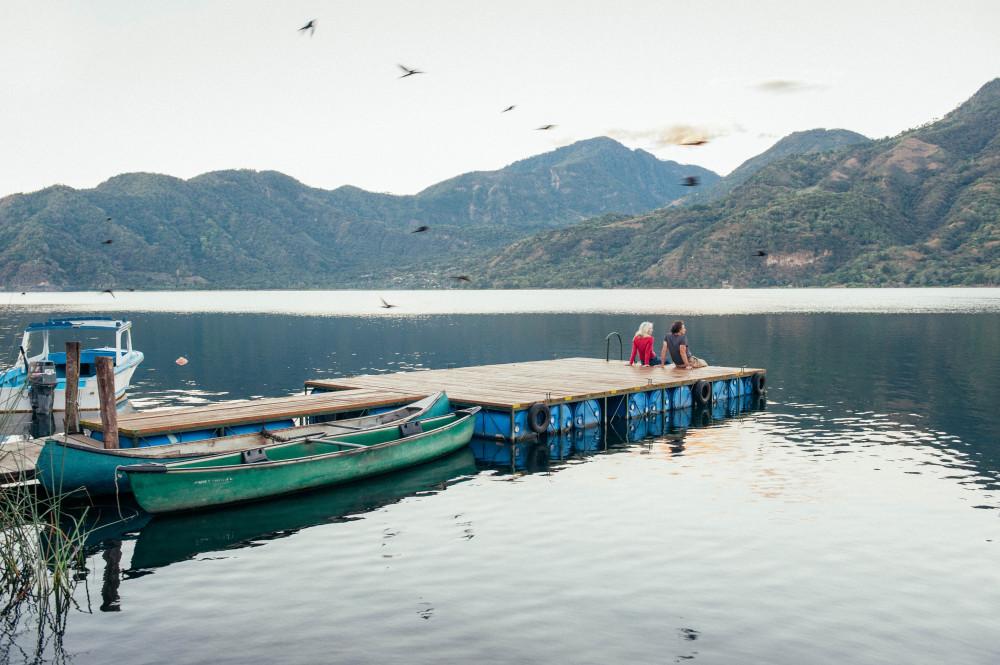 Guatemala honeymoon dock on the water