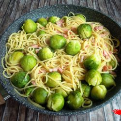 Spaghetti with Brussels sprouts and bacon.
