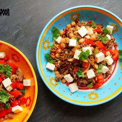 Chickpea-date beef bowl.