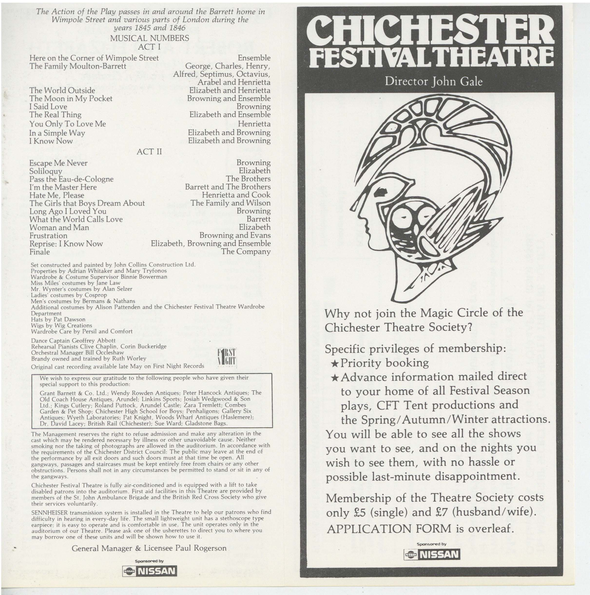 Cast list, Robert and Elizabeth (1987)