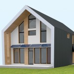Illustrated front view of a Passive House