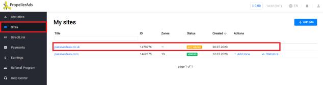 verifying your site, screenshot, dashboard