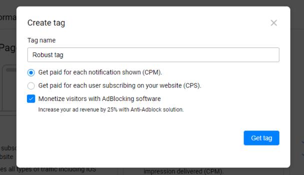 get push notification ad tag, screenshot