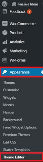 theme editor, navigation