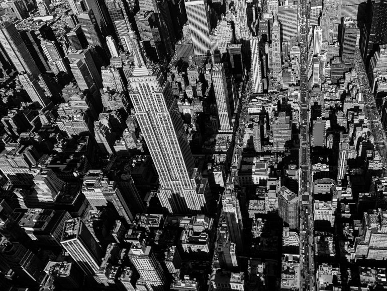 grayscale aerial photography of Empire State Building