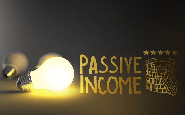 Light bulb 3d and hand drawn passive income