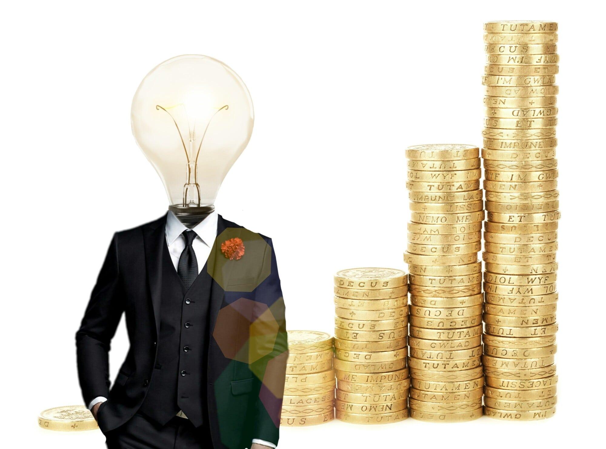 suit with light bulb
