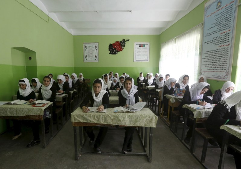 Class 11 girl students attend a class at Zarghona high school in Kabul, Afghanistan. Omar Sobhani - Reuters