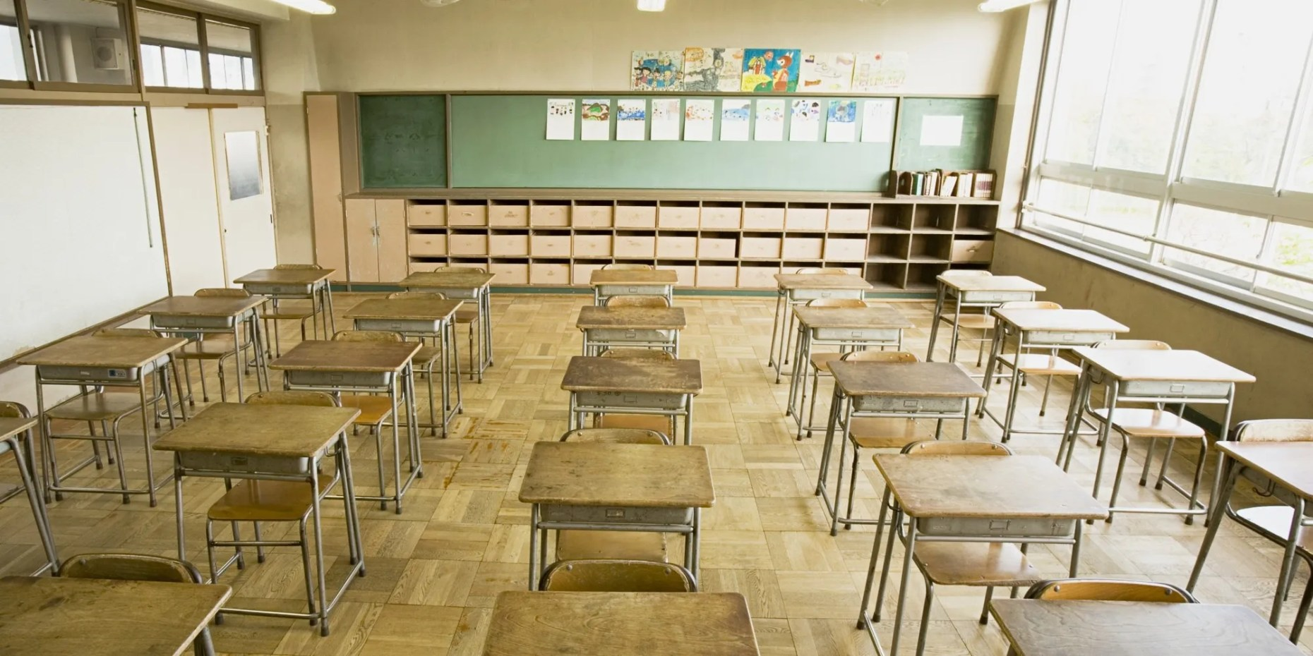 Chairs and desks in a classroom