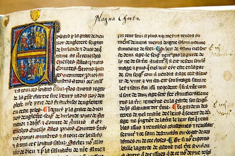 Magna Carta Cum Statutis, ca. 1325, at Harvard Law School library. Jon Chase/Harvard Staff Photographer