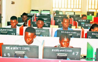 Pic 20. Cleared Candidates for JAMB Unified Tertiary Matriculations Examination (UTME) Computer Based Text writing their examination at a centre in Yenagoa, Bayelsa State on Monday (15/5/17). 02556/15/5/2017/Anthony Okpu/EO/ICE/NAN