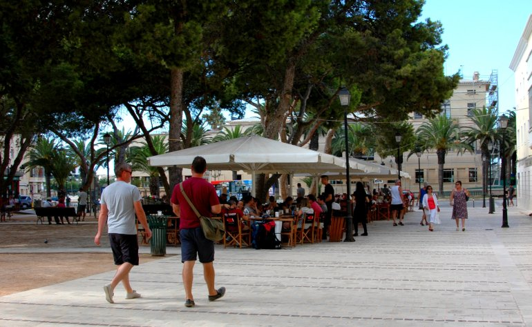 Tourists stroll through Menorca's Ciutadella