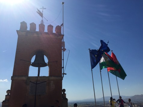 Flags: EU, Spain, Andalucia and Granada (not necessarily in order)
