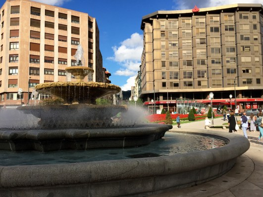 Blue skies and beautiful plazas