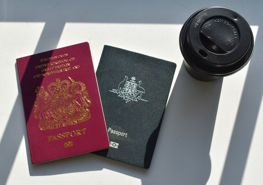 Photos of passports and coffee