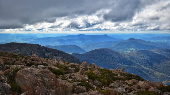 View of mountains from Mount Wellington, Hobart