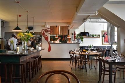 Interior of Fico restaurant, Hobart